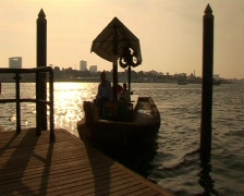 Dubai Abra Boat on The Creek Stock Footage