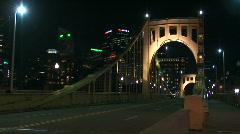 Bridge traffic at night Stock Footage