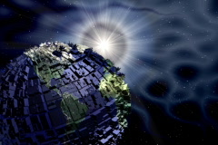 Earth with buildings Stock Footage