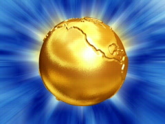 Gold Earth globe with disp map and flare Stock Footage