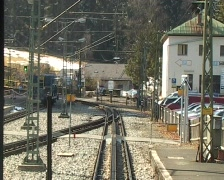 Rack railway leaving station Stock Footage