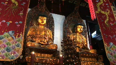 Two Golden Buddhas at the Jade Buddha Temple in Shanghai, China Stock Footage