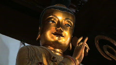 Golden Buddha Statue at the Jade Buddha Temple in Shanghai, China Stock Footage