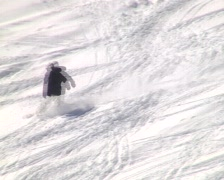 Inexperienced snowboarder - stock footage