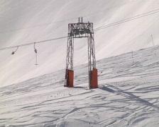 Skiers on ski tow Stock Footage
