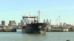 Chemical tanker sailing into dock. HD 1080i - stock footage