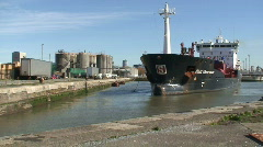 Chemical tanker sailing into docks. HD 1080i Stock Footage
