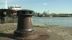 Capstan with Liverpool waterfront in background Stock Footage