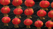 Chinese Red Paper Lanterns Blowing In Wind Stock Footage