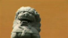 Stone Lion coming into focus Stock Footage