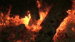 Fireplace burning wood log nine, close-up Stock Footage