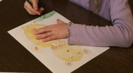Stock Video Footage of Small girl painting three