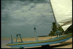Fisher boat on the sand Stock Footage