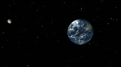 Pan past Sun to Earth then approach from space - stock footage