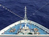Cruise ship bow with sunbathers Caribbean Stock Footage