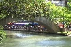 San Antonio TX riverwalk footbridge Stock Footage