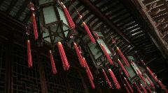 Chinese lantern hangs in Hallway at Yuyuan Garden in Shanghai, China Stock Footage