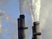 Power plant stacks close Stock Footage