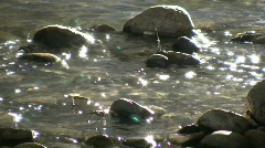 Sunlight illuminates the bottom of shallow stream (High Definition) Stock Footage