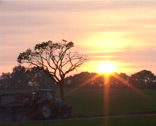 Sunset with tractors Stock Footage