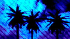Surreal palm trees  moonset Stock Footage