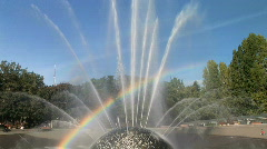 Rainbow at the International Fountain in Seattle, Washington Stock Footage