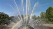 Rainbow at the International Fountain in Seattle, Washington Stock Footage