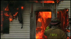 Housefire and Firefighters (4 of 6) Stock Footage