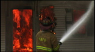 Housefire and Firefighters (6 of 6) Stock Footage