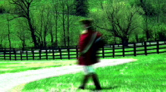 British soldier walking by (artistic) Stock Footage