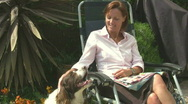 Lady and dog lookalike Stock Footage