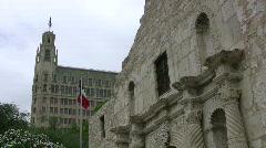 Alamo facade Emily Morgan Texas Flag HD - stock footage