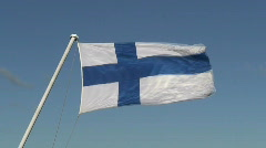 Finnish flag on passenger cruise ship one, close-up Stock Footage