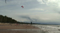 Kite surfing four in the Baltic sea - stock footage