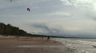 Stock Video Footage of Kite surfing four in the Baltic sea