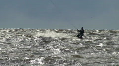Kite surfing in the Baltic sea - stock footage