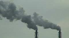 Smoke from chemical factory chimneys two Stock Footage
