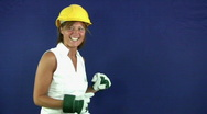 Builder girl Stock Footage