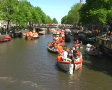 Dutch crowd partying in the canals of Amsterdam Stock Footage