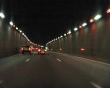 Tunnel driving on the highway near Paris France Stock Footage