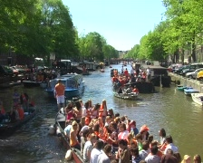 Partying on a boat at queensday in Amsterdam Stock Footage