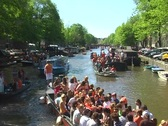 Stock Video Footage of Partying on a boat at queensday in Amsterdam