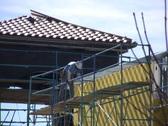 Workman on Scaffolding Stock Footage