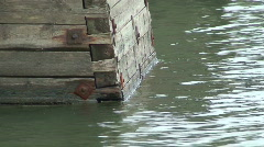 Wooden bridge pillar two Stock Footage