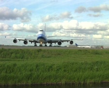 Cargo airplane ready to leave Stock Footage