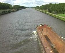 Pushboat on the Amsterdam Rijnkanaal Stock Footage