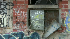 Graffiti wall windows zoom out HD Stock Footage