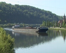 Freight ship on the Neckar Stock Footage