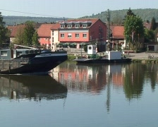 Freight ship on the Neckar Stock Footage