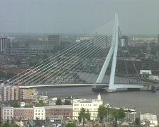 Cityview with erasmusbridge in Rotterdam Stock Footage